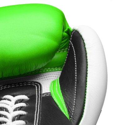 Boxkesztyű, Top Ten, Pro X, valódi bőr, Zöld-fehér szín, 10 oz méret