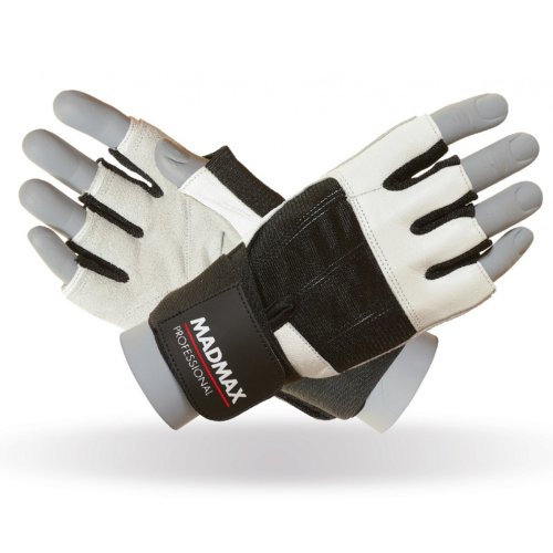 Fitness Gloves, Madmax, Professional, for men, Fekete-fehér szín, L size, Fekete-fehér szín, L méret