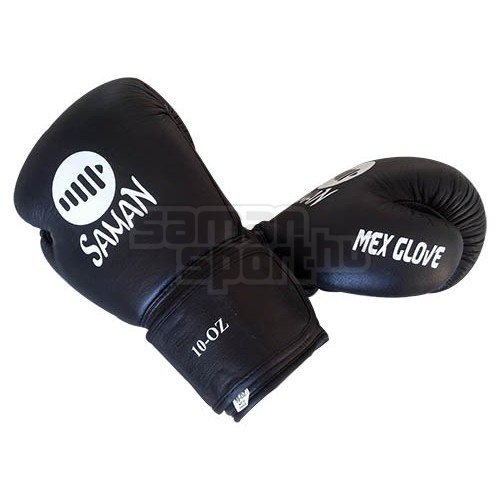 Boxkesztyű, Saman, Mex Glove, bőr, fekete, 14 oz méret