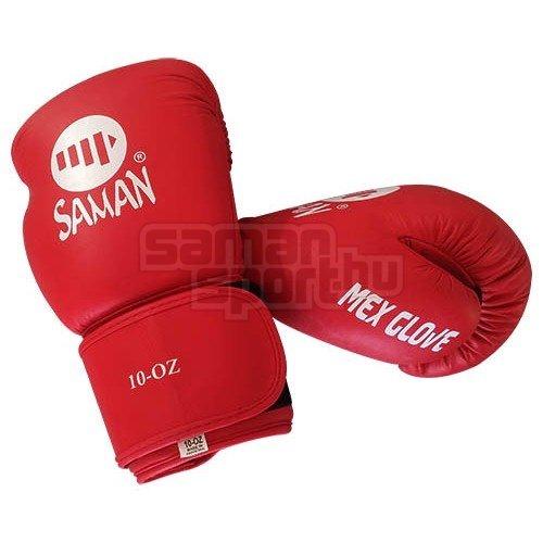 Boxkesztyű, Saman, Mex Glove, bőr, piros, 10 oz méret