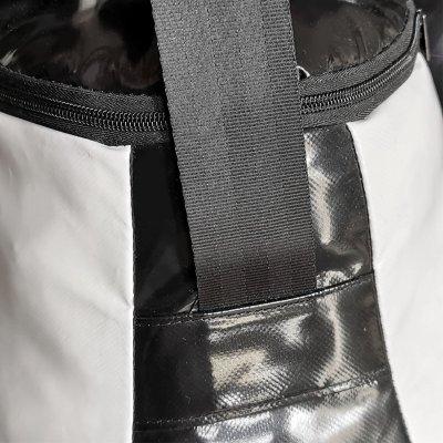 Boxzsák, Saman, Bogyó, 62x52x52 cm, PU, fekete/fehér